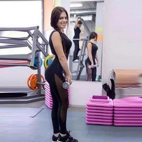 Unitardo Jumpsuit Negro Transparencia Yoga Gym Casual
