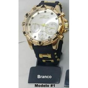 Relógio Masculino Barato Pulseira Borracha Dourado E Branco