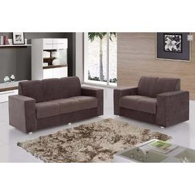 Sofa Cor Tabaco Com 2 E 3 Lugares Super Oferta - Lojas Movz