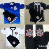 Uniforme Do Corinthians Infantil C/3 Camisa E Short + Brinde