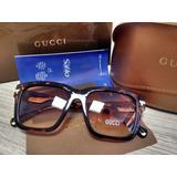 Óculos Gucci Square Frame - Azul / Tartaruga Original