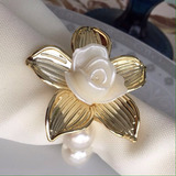 Porta Guardanapo De Pérola Com Flor Dourada (unidade)
