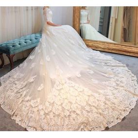 Vl45 Vestido De Noiva Lindo Cauda Princesa Renda Importado