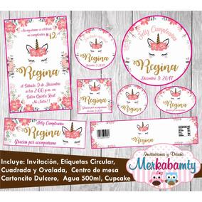 Invitacion De Cumpleaños Unicornio Kit Imprimelo Tú!!