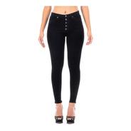 Pantalón Jeans Mezclilla Stretch Dama Con Botones Al Frente