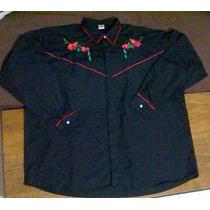 Camisa Hombre Bordada Talle Especial Color Negro T- 50