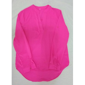 Camisa Feminina Chiffon Seda Importada Longa Casual