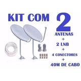 Kit 2 Antenas Banda Ku + Lnb Simples Completa (frete Grátis)