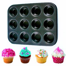 Molde X12 Para Muffins Cupcakes Teflonado Fuente Exc Calidad