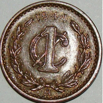 Moeda Do México - 1 Centavo - 1944