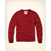 Hollister Sueter Cuello V Color Rojo Talla Xl Originales