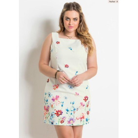 Vestido Plus Size Tubinho Floral Romântico Social Festa
