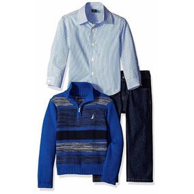 Set Camisa Sweater Y Jeans Nautica Importado Niño