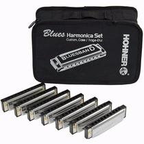 Kit Com 7 Gaita De Boca Harmônicas Blues Band Hohner