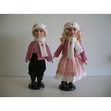 Bonecos De Porcelana Porcelain Doll Casal 40 Cms.