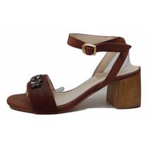 Natacha Zapato Mujer Sandalia Cuero Y Pelo Marrón #3002
