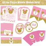 Kit De Fiesta Minnie Mouse Gold Imprimible/no Editable