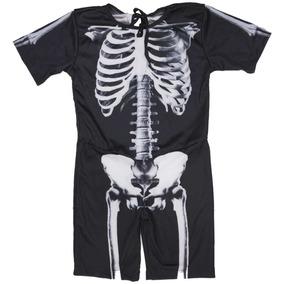 75bb26306c035 Fantasia Halloween Esqueleto Infantil C  Osso Frente E Verso