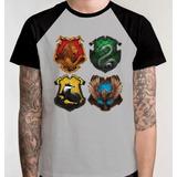Camiseta Casas Raglan Camisa Blusa Série Harry Potter Filme