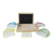 Ingeniacrea Bandeja Montessori Tarjetas Trazos Pizarra Doble