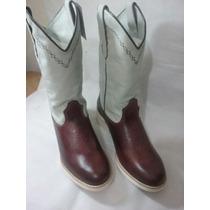 Bota Country Texana Masculina Branca E Pinhão Sola Branca