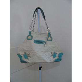 Bolsa Ruth Calçados Branca E Azul Em Couro