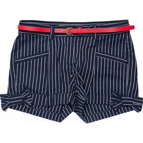 Shorts Infantil Marinho Em Tecido Listrado Com Cinto Marisol