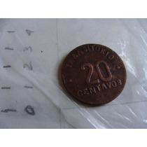 Moneda Transitorio , 20c , Año 1915