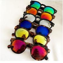 Óculos Leonard Inspired De Sol Redondo Espelhado Polarizado