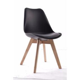 Cadeira Charles Eames 4 Pés Em Madeira Assento Estofado