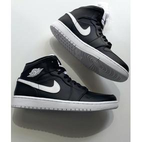 Tênis Masculino Nike Air Jordan Mid Preto Branco Original