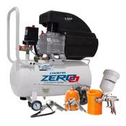 Compresor Aire 25 Litros 2,5 Hp Zero + Kit Acc. Lusqtoff