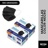Mascarillas Desechables 50 Un 2 Cajas (100 Un). Color Negro