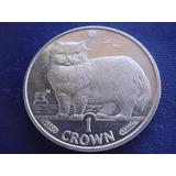 Isla De Man : Moneda De 1 Corona 1989 - Gato Persa