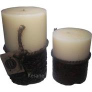 2 Velas Aromaticas Decorativas Cilíndricas Blanco Con Vino