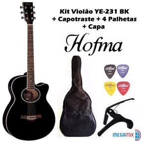 Kit Violão Ye 231 Bk Hofma By Eagle + Capa + Palhetas + Capo