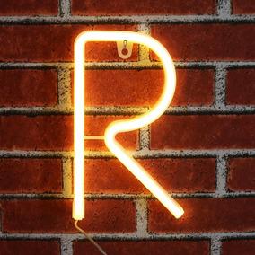 Letrero Luminoso De Neon Letra R Blanco Fiesta Bar Obrecis
