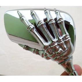 Par Espelho Retrovisor Skull Mão De Caveira Cromado Custom
