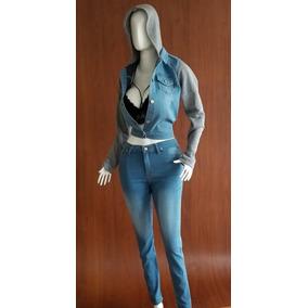 Pantalón De Jeans Corte Medio Strech Dama