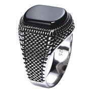 Anel Prata 925 Masculino Black Onix- Tamanhos Exclusivos