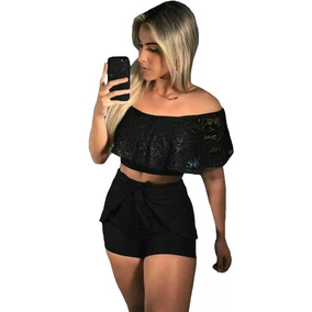 Conjunto Cropped E Short Curto Festa Detalhe Renda Laço