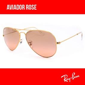 Óculos De Sol Rayban Aviador Rose Original Garantia + Brinde