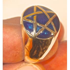 Rsp J5214 Anel Bronze Com Pentagrama E Enamel Azul