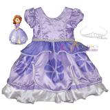 Vestido Festa Infantil Princesa Sofia Luxo 1 A 12 Com Coroa