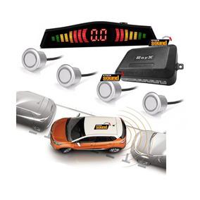 Sensor Estacionamento Ré Prata Rayx 4 Pontos Com Display Led