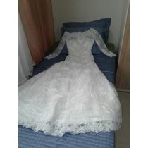 Vendo Vestido De Noiva , Branco, Gola Canoa, Manga Comprida