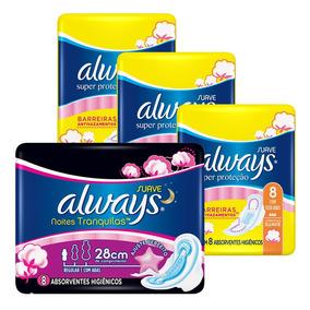 Kit Always Cobertura Suave C/ Abas C/ 24 Diurnos +8 Noturnos