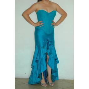 Vestido De Diseñador Para Fiesta Azul Turqueza