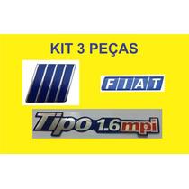Kit Emblema Tipo 1.6 Mpi Resina + Fiat + Logo Grade 3 Peças