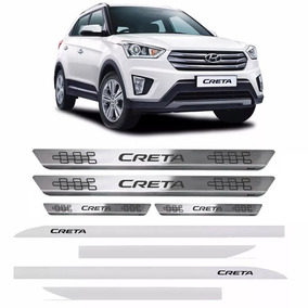 Kit Hyundai Creta Friso Lateral Branco Polar + Soleira Inox